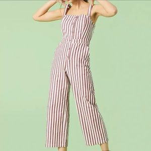 FOREVER 21 button front striped jumpsuit